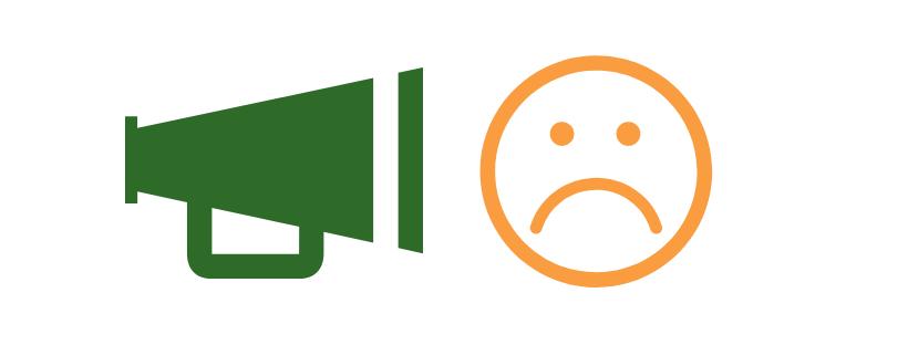 megaphone and sad face graphic